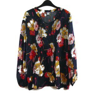 Old Navy Floral Blouse L Long Sleeve Soft Thin